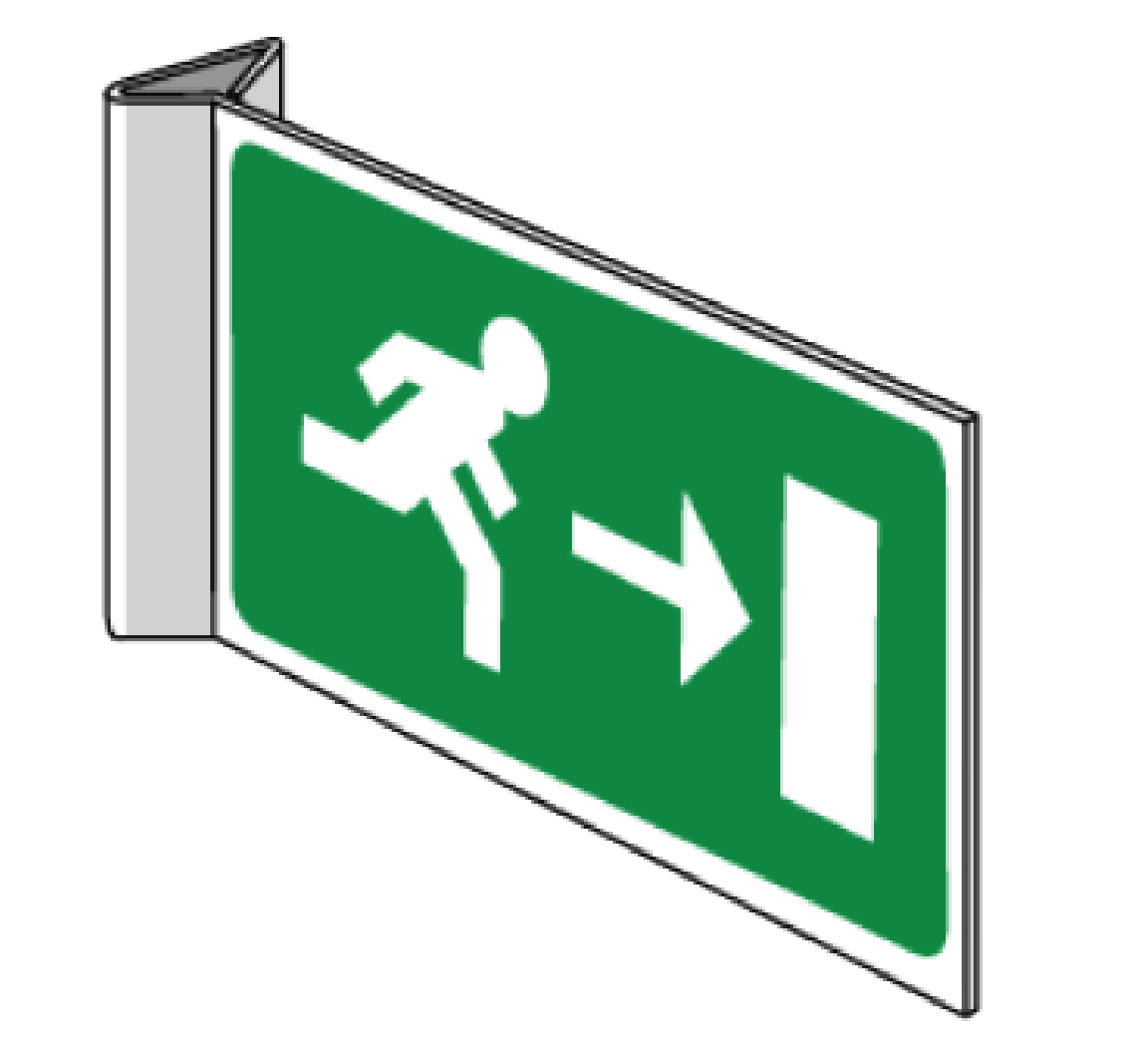 flag evacuation pictogram