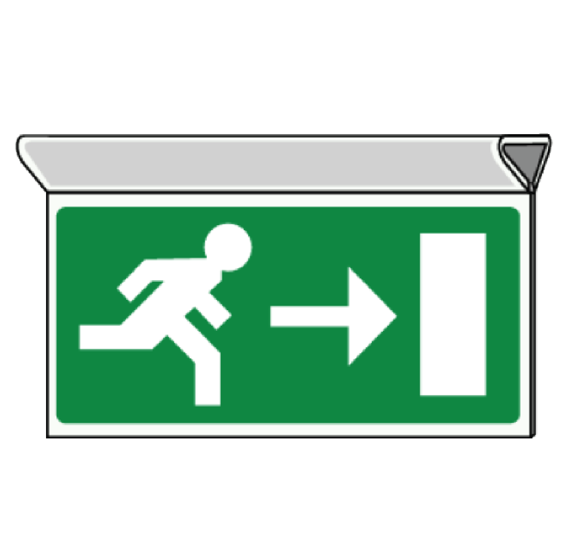 Suspended evacuation pictogram